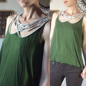Anthropologie Leifnotes Green Braided Chord Tank